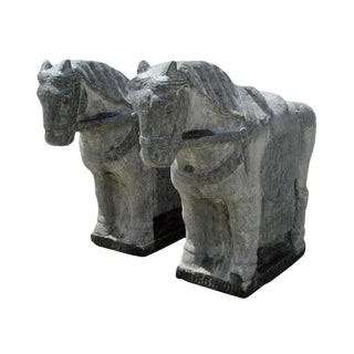 Handcrafted Pair Stone Large Size Chinese Ancient Style Standing Horse Statue