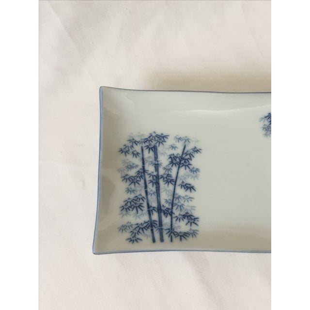 Chinoiserie Blue & White Bamboo Motif Catchall - Image 4 of 6