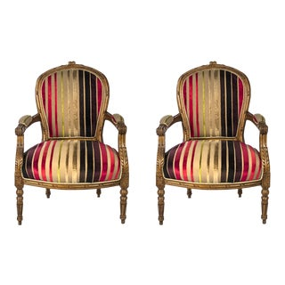 Louis XV Walnut Armchairs - A Pair