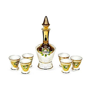 Bohemian Gilt & White Decanter Set - Set of 7