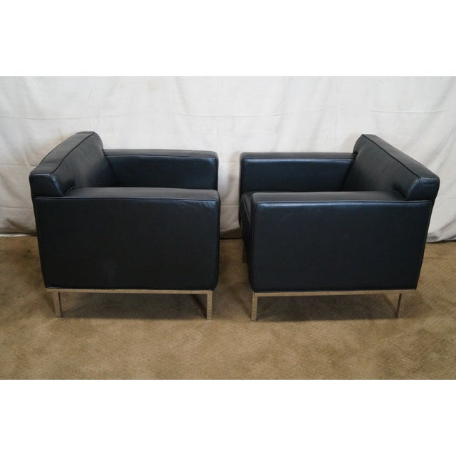 Ted Boerner American Leather Club Chairs - Pair - Image 3 of 10