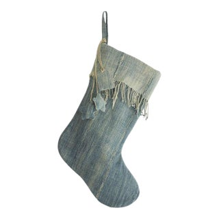 Vintage Denim Indigo Christmas Stocking