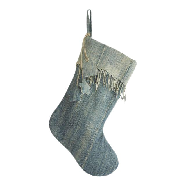 Vintage Denim Indigo Christmas Stocking - Image 1 of 4