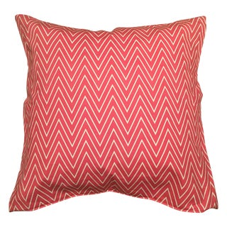 Pink and White Chevron Square Pillow Cover