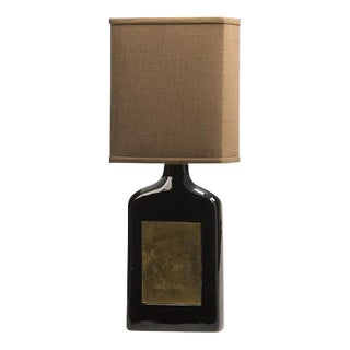 Glazed Ceramic Bottle, Etched Brass Panels, France c.1960, Custom Lamp and Shade