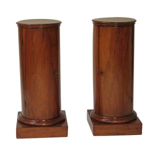 Pair of French Fruit Wood Column Cabinets