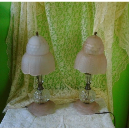 Art Deco Glass Table Lamps - Pair - Image 9 of 9