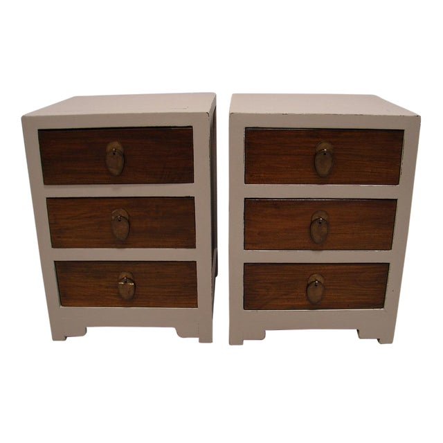 Teak Painted Night Stand Accent Table Set - Image 1 of 5
