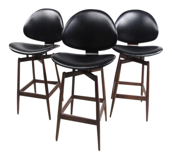 midcentury modern clamshell bar stools set of 3