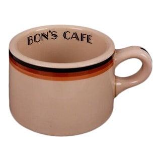 "Art Deco Shenango Inca Ware ""Bon's Cafe"" Diner Coffee Mug"
