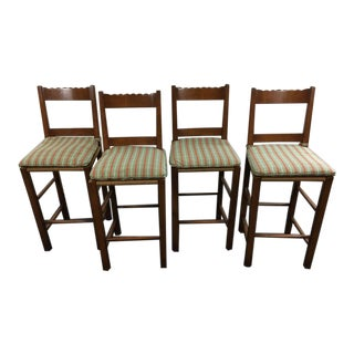 Carved Wood Rush Seat Bar Stools - Set of 4