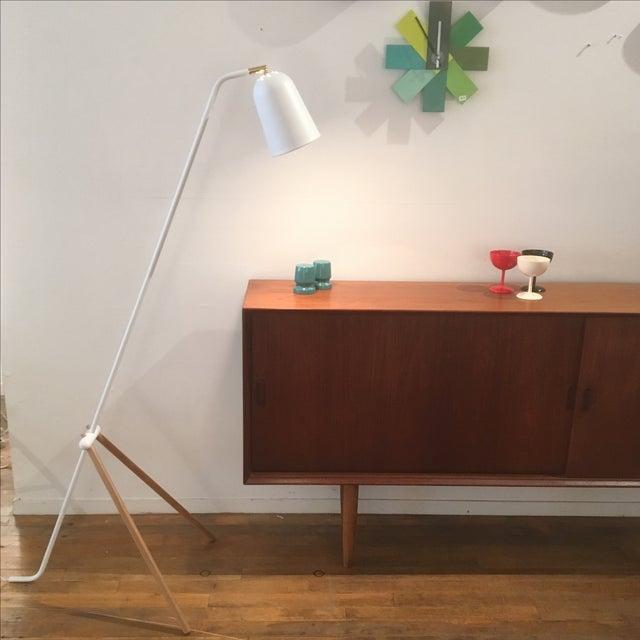 Image of Modern White Metal & Teak Floor Lamp