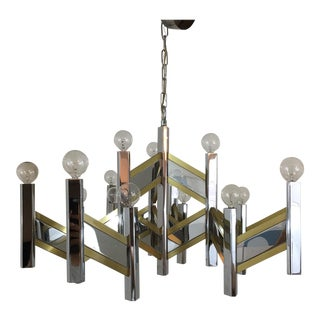 Sciolari Brass and Chrome 15 Bulb Chandelier