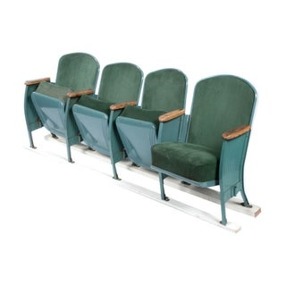 Vintage Velvet Theater Seats in Forest Green
