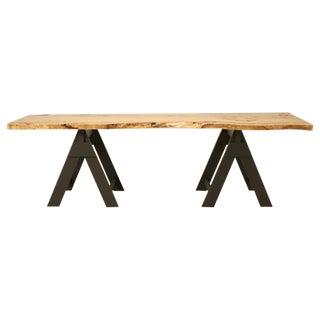 French Burl Elm Slab Dining Table, or Desk