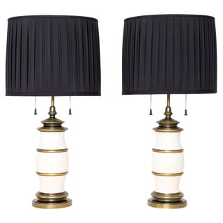 Bronze and White Stiffel Table Lamps A Pair