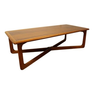 Mid-Century Modern Lane Perception Two-Toned Sculpted X-Base Coffee Table