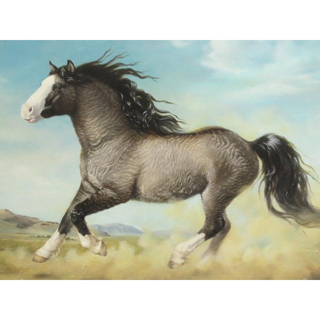 "Ute Simon ""Surprise"" American Bashkir Curly Horse Painting - Image 3 of 9"