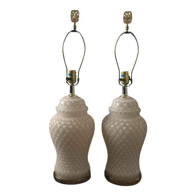 White Glass Quilted Ginger Jar Lamps - A Pair - Image 1 of 11