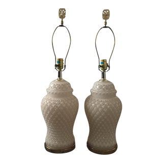 White Glass Quilted Ginger Jar Lamps - A Pair