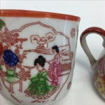 Image of Orange & White Chinoiserie Mini Teacups- Set of 4