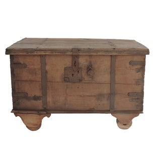 Wooden Ironstrap Traveling Trunk