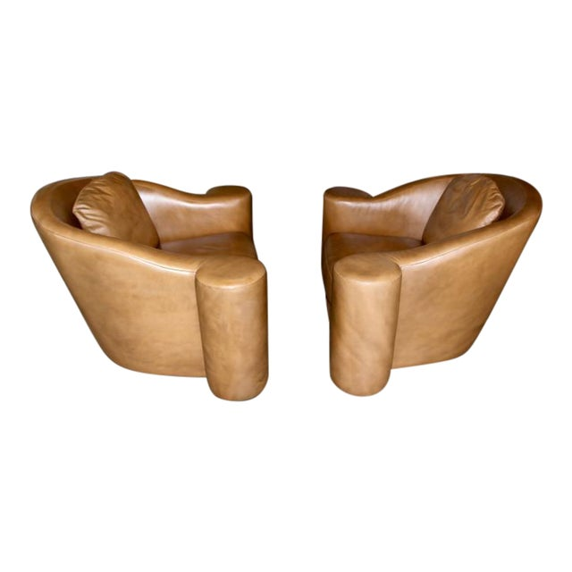 Image of Oversized Swivel Club Chairs Designed by Steve Chase in Leather from 1994