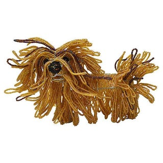Glass Beaded Lhasa Apso Dog Sculpture