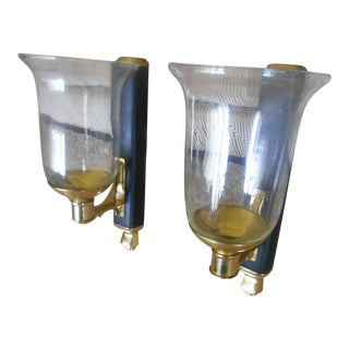 Brass & Leather Candle Wall Sconces - A Pair