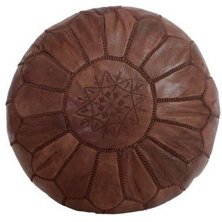 Brown Moroccan Leather Pouf (Stuffed)