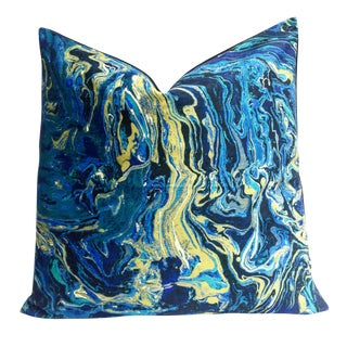 Cobalt Blue Faux Suede Malachite Pillow Cover
