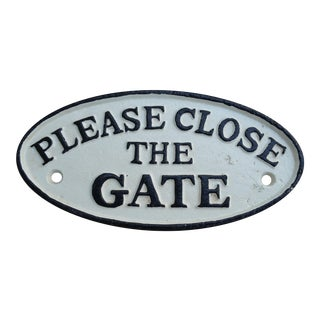 Cast Iron Please Close Gate Sign