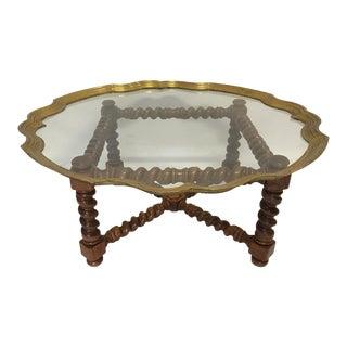 Barley Leg & Brass Framed Glass Coffee Table