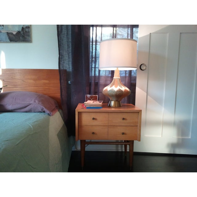 Image of Mid-Century Modern Wood & Brass Side Table