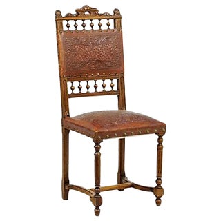 Walnut & Leather Dining Chairs - Pair