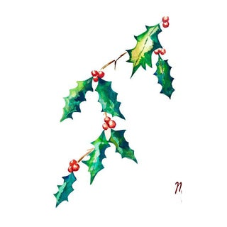 Red & Green Holly Leaf Print