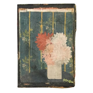 Pink & White Dahlia Linen Canvas Print