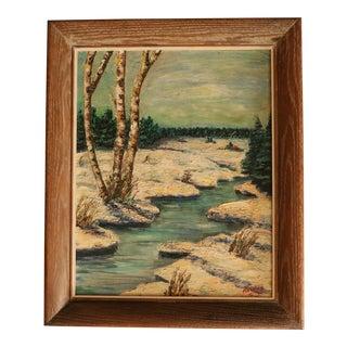 Winter Birch Oil Painting in Cerused Oak Frame