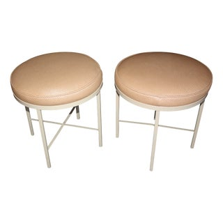 1960s X-Base Round Stools - A Pair