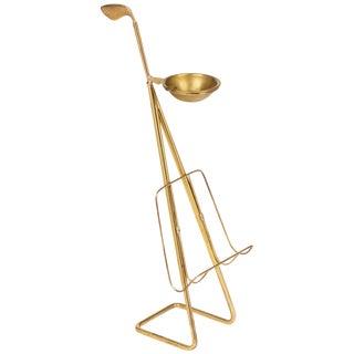 French Mid-Century Brass Ashtray Magazine Stand