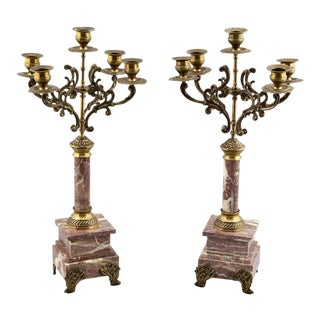 French 19th C. Brass & Marble Candelabras - A Pair
