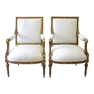 19th C. Louis XVI Carved Giltwood Chairs - A Pair
