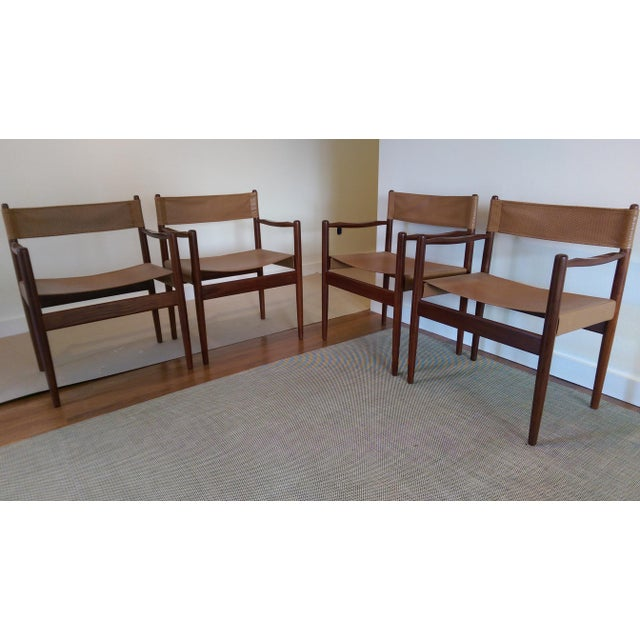 Arne Norell-Style Safari Sling Rosewood Chairs - Set of 4 - Image 8 of 8