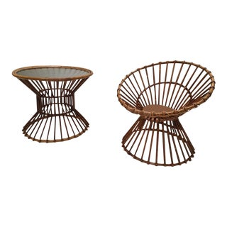 Modernist 1950s Rattan Table and Chair by Rohe Noordwolde the Netherlands