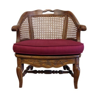 French Provincial Cane Back Barrel Chair