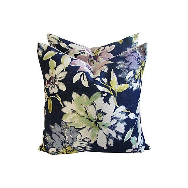 Custom French Floral Silk & Linen Pillows - A Pair - Image 2 of 7