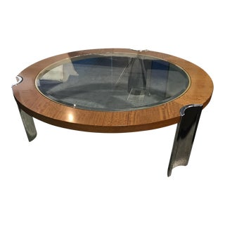 Excelsior Italian Chrome and Walnut Coffee Table