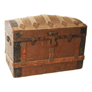 Vintage Camelback Wood Steamer Trunk