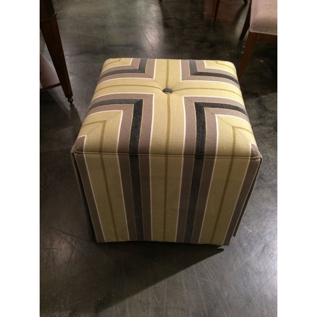 Pair of Upholstered Striped Cube Ottomans - Image 2 of 6