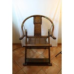 Image of Chinese Carved Rosewood Folding Chairs - A Pair